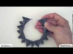 Bangle bracelet with Peyote stitch triangles - YouTube