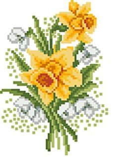 Hardanger Embroidery, Cross Stitch Embroidery, Daffodil Flower, Cross Stitch Designs, Amazing Flowers, Daffodils, Cactus Plants, Needlework, Easter