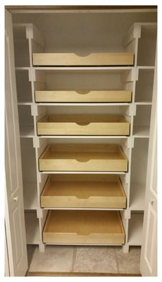 Closet Pantry Shelving, Pull Out Pantry Shelves, Pantry Room, Pantry Storage, Small Pantry Closet, Pantry Closet Organization, Roll Out Shelves, Built In Pantry, Kitchen Pantry Design