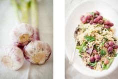 Quinoa, grapes, and spring garlic