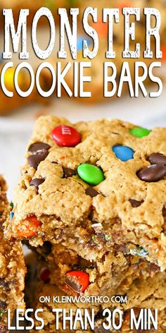 Bar Recipes, Sweet Recipes, Cookie Recipes, Easy No Bake Desserts, Delicious Desserts, Monster Cookie Bars, Monster Bar, Cheesecake Desserts, Desert Recipes