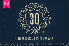 30 Lineart Logos / Badges / Frames by Marish on @creativemarket