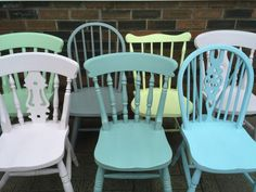 6 CUSTOM PAINTED Mix and Match Wooden Chairs // Set of 6 Painted Mismatched Dining Chairs // Chalk Painted Kitchen Chairs // Farmhouse Chair