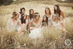 Who says flower crowns are just for the bride? They make for beautiful boho bridesmaids too! Bridesmaid Flowers, Wedding Bridesmaid Dresses, Brides And Bridesmaids, Wedding Flowers, Tipi Wedding Inspiration, Wedding Ideas, Wedding Planning, Style Inspiration, Boho Wedding