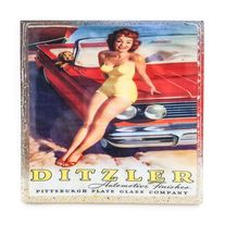 Handmade Coaster Vintage ad Ditzler pinup red head with red car - Handmade Recycled Tile Coaster