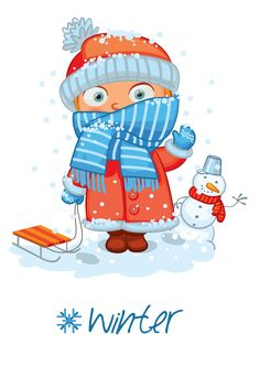 "Photo from album ""Времена года"" on Yandex. Winter Illustration, Christmas Illustration, Colegio Ideas, Weather Seasons, Teaching Techniques, Maria Jose, Cute Clipart, Months In A Year, Winter Time"