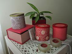 Caixas recicladas forradas a papel e caixa forrada a tecido