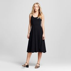 Women's Knit Skater Midi Dress Black Xxl - Who What Wear