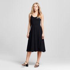 Women's Knit Skater Midi Dress Black XL - Who What Wear