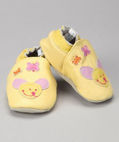 Take a look at this Yellow Mouse Leather Booties by Gagou Tagou Infant on #zulily today!