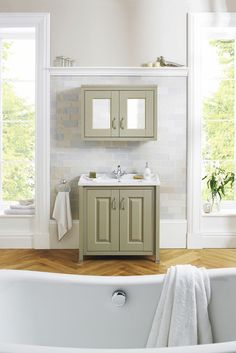 Our range of modular furniture in sot Pistachio green is a great way to bring a tranquil feel to your bathroom.  With storage in vanity units, cupboards, tall boy units and mirror cabinets, you can create a zen feeling.