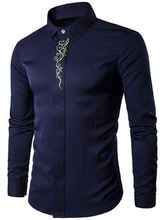 Turndown Collar Embroidered Long Sleeve Shirt #shoes, #jewelry, #women, #men, #hats
