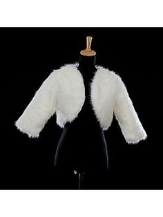 Ivory Faux Fur Bridal Wrap with Three Quarter Sleeves - USD $17.99
