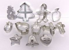 Lot of 12 Vintage Aluminum Cookie Cutters Christmas Tree Gingerbread Bird Apple