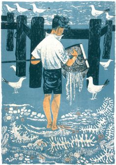 'Boy and Net', lithograph by Robert Tavener (1957)