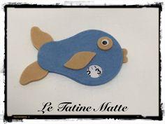 Pesce Disco Orario azzurro-beige, by Le Tatine Matte, 5,00 € su misshobby.com