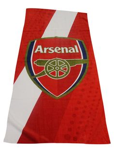 Arsenal Fc Stripe Towel Ideal For Any Gunners Fan To Show Their Support At Home