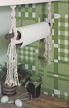 """1970s """"Household Helpers"""" MACRAMÉ Paper Towel Holder, Wooden Spoon Towel Bar & Door Mat - Instant PDF Digital Download by TheMysticStitch on Etsy https://www.etsy.com/listing/465267382/1970s-household-helpers-macrame-paper"""