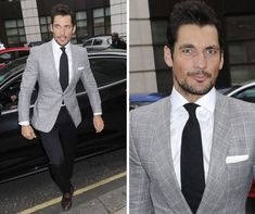 David Gandy arrived separately, looking dapper in a grey blazer and dark check trousers