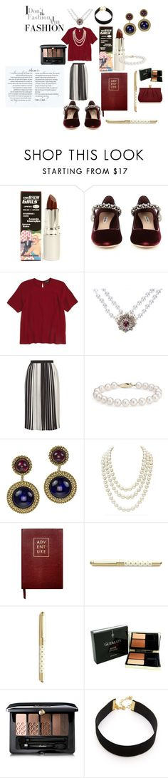 """Classic, Bold, Beauty!"" by alisafranklin on Polyvore featuring TheBalm, Miu Miu, Topshop, Chanel, Blue Nile, Sloane Stationery, Kate Spade, Guerlain, Vanessa Mooney and Wilbur & Gussie"