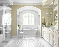 Master Bathroom White Accent Setting - Love the whole bath-tub scene!