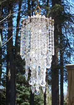 Magnificent Antique Brass and Crystal Wind Chime by sheriscrystals, I would hate to hang this out side in the Texas wind but WOW