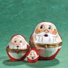 Limoges 3 roly poly santas box/es Ceramic Boxes, Santa Baby, Little Boxes, Trinket Boxes, Pills, Decorative Items, Soups, Merry Christmas, Porcelain