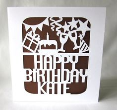 Custom Happy Birthday Papercut Card by galinblack on Etsy, $7.00