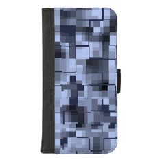 Abstract Blue and Black Pattern iPhone 8/7 Plus Wallet Case - chic design idea diy elegant beautiful stylish modern exclusive trendy