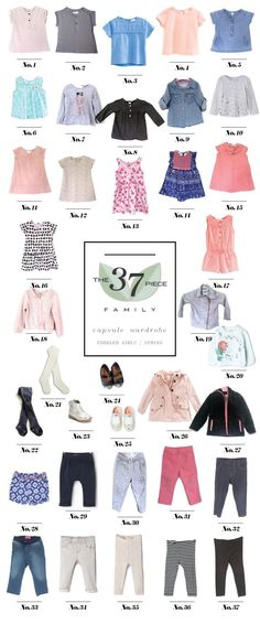 Toddler Girls Spring Capsule Wardrobe.  37 pieces for 3 months.  A great idea for growing babies!