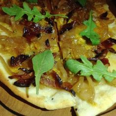 At The Milton,Yorkville, NYC - Also good is the crispy flatbread ($9) with caramelized onions, Applewood smoked bacon and Shropshire Blue ....