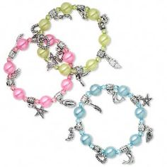 Bracelet mix, stretch, acrylic and silver-coated plastic, pink / light green / light blue, 10mm wide with assorted shape, 6 inches. Sold per pkg of 3.