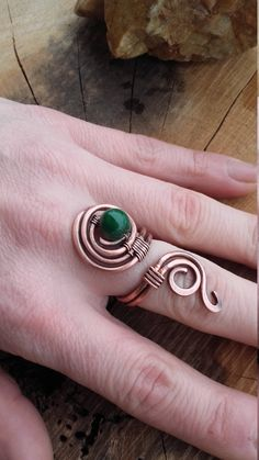 Simple copper wire wrapped ring with Jade beads,Copper wire ring,Bohemian ring,Wire jewelry,Wire wrapped ring,Fairy ring,Boho jewelry,Boho