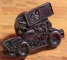 RACING JEWELRY- Custom Number Sprint Car Silver Tack Pin- Limited & Discontinued Item