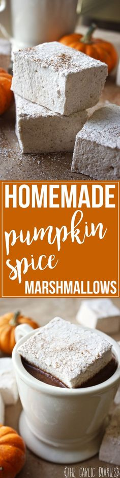 Homemade Pumpkin Spice Marshmallows - my new favorite fall treat! Super simple and fun to make, homemade marshmallows are SO much better than store bought! http://TheGarlicDiaries.com