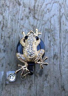 Gold-like Bling frog retractable badge reel,Medical badge,RN badge,Brooch lanyard, Cute badge reel,Medical,ID Holder,Medical jewelry by AllThingsMish on Etsy