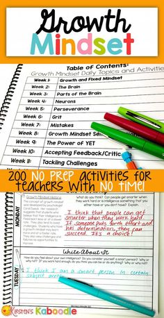 These DAILY growth mindset activities are perfect for teachers who are looking for quick, easy to use, information-packed daily growth mindset instruction. These 200 activities, which span across 40 weeks, will give you everything you need to teach your 4TH GRADE AND UP classroom about all things growth mindset!The following topics are covered, week by week, in this full year growth mindset instructional package:1- Growth and Fixed Mindset2- The Brain3- Parts of the Brain4- Neurons5- Perse 4th Grade Activities, Classroom Activities, The Power Of Yet, 5th Grade Ela, Fourth Grade, Third Grade, Growth Mindset Activities, Growth Mindset Classroom, Social Emotional Activities