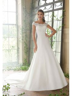 003fef998a Mori Lee 5717 Phyliss A Line Wedding Dress With Cap Sleeve Ivory Fitted  Bodice, Lace