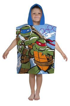 18511162c64 Teenage Mutant Ninja Turtles Hooded Poncho Kids Boys Beach Holiday Towel  Swimming Lessons For Kids