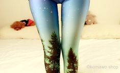 GALAXY TWILIGHT LEGGINGS /Forest Blue Leggings/Funky Yoga leggings/Color Bottoms/ Sports Pants/ Stretch Leggings/ Yoga Tights dz33v