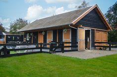 Douglas overkapping / buitenverblijf zadeldak berging - paardenstal met rieten dak