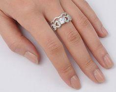 A Perfect 1CT Round Cut Russian Lab Diamond Heart Bridal Set Wedding Band Ring