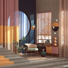Memphis Design – 5 Reasons you should consider this trend that made a huge comeback from the Modern Interior, Home Interior Design, Interior Architecture, Interior And Exterior, Interior Decorating, Architecture Geometric, Interior Design Photography, Color Photography, Architecture Details
