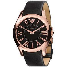Emporio Armani Round Case Leather Strap Watch - Polyvore
