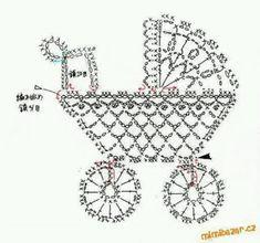 Crochet stroller chart pattern by Alex Mihaela Appliques Au Crochet, Crochet Motifs, Thread Crochet, Crochet Doilies, Crochet Flowers, Crochet Patterns, Crochet Stitches, Filet Crochet, Crochet Diagram