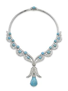 A CHARMING TURQUOISE AND DIAMOND NECKLACE, BY VAN CLEEF & ARPELS | Jewelry Auction @ Christie's