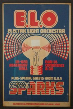 1972 Electric Light Orchestra and Sparks concert. - The Groovy Archives Guitar Posters, Band Posters, Music Posters, Baroque Composers, Ornette Coleman, Orchestra Concerts, Tour Posters, Beautiful Posters, Vintage Rock