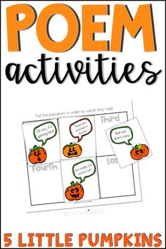 This 5 little pumpkins poem activities resource includes several activities that reinforce patterning, rhyming, and sequencing using the 5 little pumpkins poem. #5littlepumpkins #5littlepumpkinspoem #5littlepumpkinsactivity #fivelittlepumpkins #fivelittlepumpkinspoem #fivelittlepumpkinsactivity