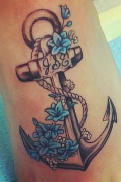 Anchor and lily tattoo. 401 forever