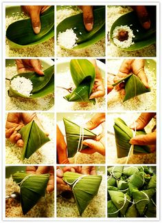 Zongzi, aka rice dumplings: bamboo leaves, rice, red bean paste or tapioca, put them in, tie it up, prepare some sugar and..enjoy. #DragonBoatFestival #hungry